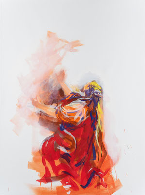 """Der Auferstandene erscheint Maria aus Magdala, Acryl, 120x90cm, 2019, frei nach Kremser Schmidt: """" Christus am Kreuz, von Maria, Johannes und Maria Magdalena betrauert"""", Öl, 319x192cm, 1777 Stift Seitenstetten"""