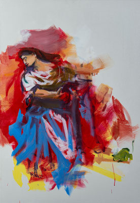 Die Frau des Judas Thaddäus, Acryl | 100 x 70 cm | 2020, frei nach Kremser Schmidt