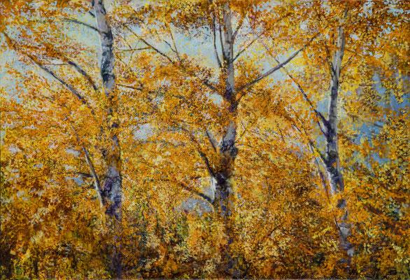 Birken im Oktoberlicht, Acryl, 130 x 190 cm, 2015/19/20