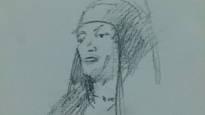 """ Apachenscout"", Bleistift auf Papier, A5, 2018"