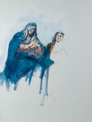 Johannes, der Ehelose, mit der Mutter Jesu, Acryl   120 x 90 cm   2020, frei nach Andreas Rudroff