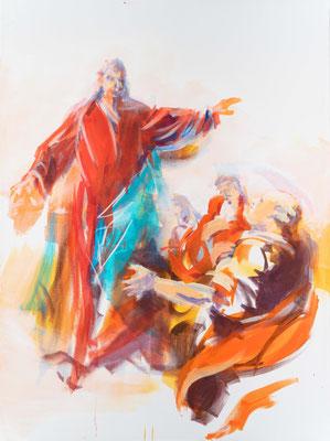 Christus sendet seine Jünger in alle Welt, Acryl, 120x90cm, 2019, frei nach Kremser Schmidt: