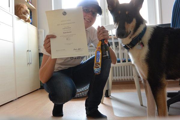 Hundeführerschein bestanden! (11 Monate alt) Das Bild zeigt Blade und sein Frauchen, die eine Hundeführerscheinurkunde hochhält.