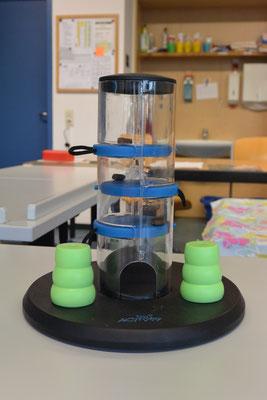 Der Leckerliturm: eine durchsichtige Plastikröhre, die unten ein Loch hat. Auf hereinschiebbaren Plastikscheiben liegen Futterstücke, die beim Herausziehen der Scheiben nach unten durch das Loch herausfallen.