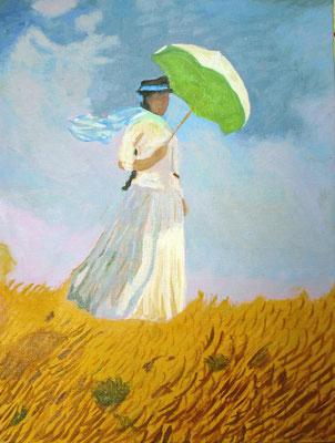 monet, femme, ombrelle, foulard, carré de soie, twill de soie, fanfaron, mon petit fanfaron