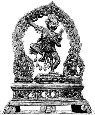 149. Ḍâkinî Seń-gdoń-ma (Siṃhavaktrâ). À côté, à gauche sTag-gdoń-ma (Vyâghravaktrâ), à droite Dom-gdoń-ma (Ṛikshavaktrâ) ; les sorcières au visage de lion, de tigre et d'ours.