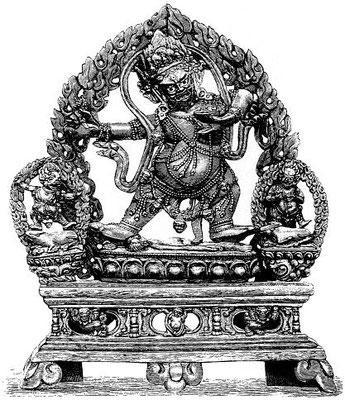 140. Yama, le dieu de l'enfer. En tibétain : Ćcos-rgyal snan-sgrub. À côté de lui à droite ; Ćcos-rgyal pcyi-sgrub ; à gauche : Ćcos-rgyal gsań-sgrub ou 'Jigs-byed.