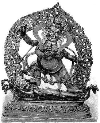 136. Nîlâmbara-Vajrapâṇi (tib. P'yag-rdor gos sńon-čan). Sur les tableaux, le dieu est bleu, celui qui est foulé aux pieds (Çiva?) est blanc. Cette forme du dieu du tonnerre s'appelle aussi 'Byuń-po'dul-byed, « Convertisseur des démons ».