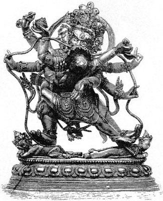 135. Mahâcakra-Vajrapâṇi (tib. P'yag-rdor 'k'or-c̀'en. Sur les tableaux, le dieu est bleu, la tête de droite blanche, celle de gauche rouge. La Çakti est bleue. Le dieu à 4 têtes (Brahmâ) est jaune sous le pied droit,  blanc sous le gauche (Çiva).