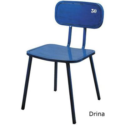 Drina alutec silla vintage metálica restaurante hosteleria bar comedor cocina con número