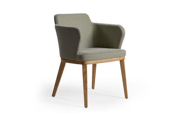 Evia MF sillón moderno de comedor Doos estructura de Fresno
