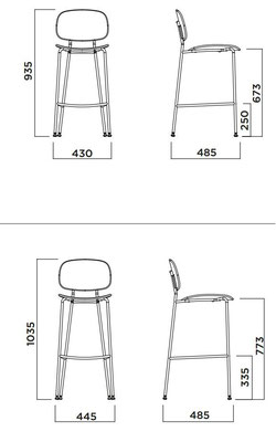 Tondina Tondina pop kitchen stool barstool medidas measures lacadira