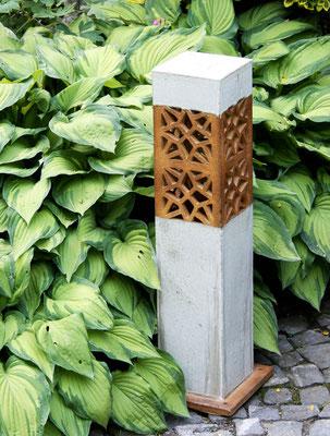 Keramik, Lichtsäule perlmutt natur ca. 70 cm  hoch