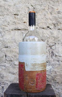 Keramik Weinkühler Literflasche, Dekor Granatapfel