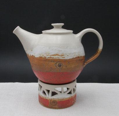 Teekanne Dekor Granatapfel mit Stövchen