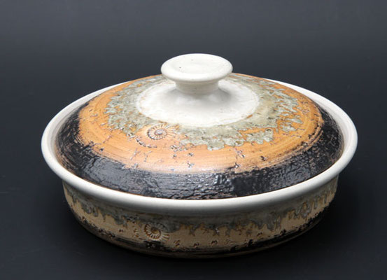 Keramik,  Butterdose  ø ca. 17,5 cm h. 4.5 cm, Dekor Basalt