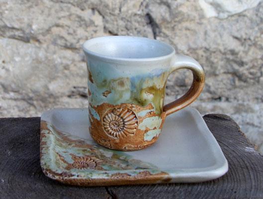 Keramik Espresso Gedeck Neuseeland mit Teller eckig ca. 9,5 x 9,5 cm