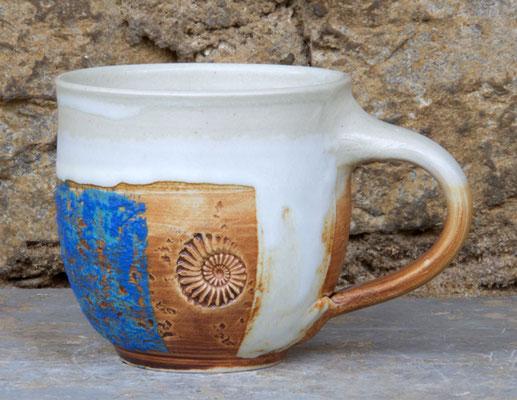 Keramik Tassen ca. h 9 cm ø 9 cm, Dekor Santorin