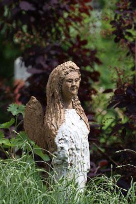 Keramik handgemacht, Engel, natur und weiss glasiert