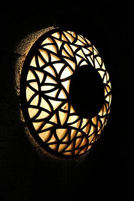 Keramik, Wandlampe ca. 55 cm ø perlmutt