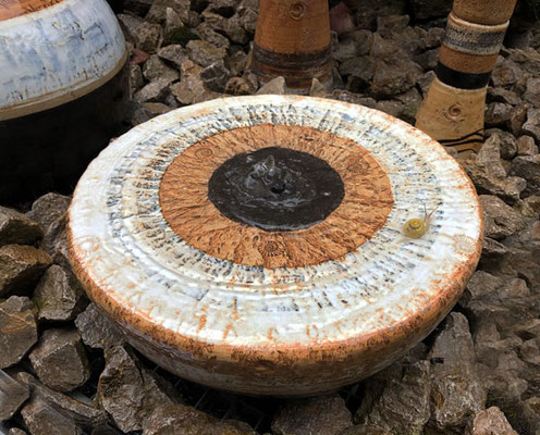 Keramik Brunnen, frostfest Halbkugel Quellstein ø ca. 35 cm Schiefer schwarz weiss glasiert