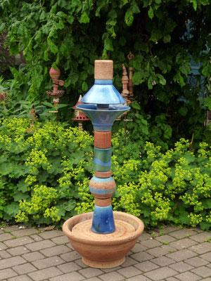 Keramik Brunnen, Wassersäule mit Keramikschale ca. 150 cm hoch