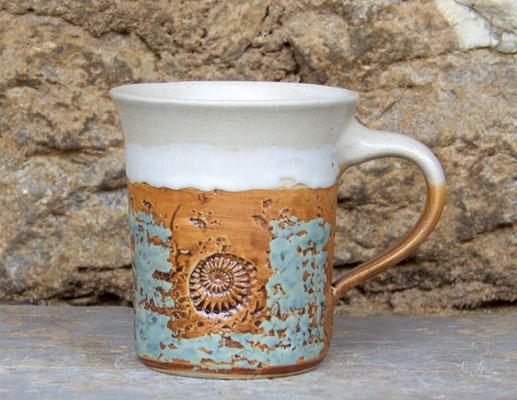 Keramik Tasse zylindrisch Camargue, H ca. 10 cm ø oben ca. 9,5 cm