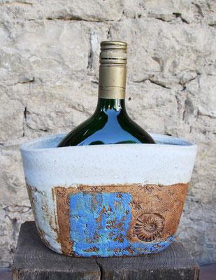 Keramik Weinkühler für Bocksbeutel, Dekor Santorin