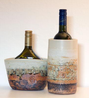 Keramik Weinkühler für Literflasche oder Bocksbeutel, Dekor Basalt