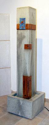 Quaderbrunnensäule ca. 125 cm hoch, 16 x 16 cm Säule, Becken ca. 32x32x 24 cm