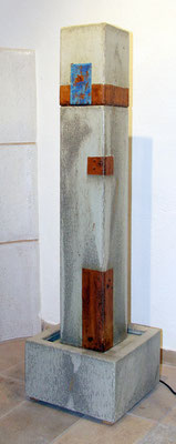 Keramik Brunnen, Quaderbrunnensäule ca. 125 cm hoch, 16 x 16 cm Säule, Becken ca. 32x32x 24 cm