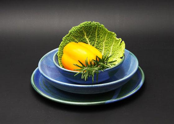 Keramik Speisegedeck Speiseteller ø ca. 26,5 cm, Suppenteller ø ca. 22 cm, Salatschale ø ca. 17 cm H ca. 5 cm, Dekor Blick ins Meer