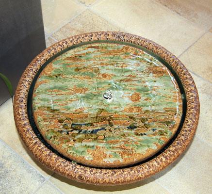 Keramik Brunnenschale, natur grün glasiert, ø ca. 38 cm,  mit Platte bemalt Dekor Neuseeland