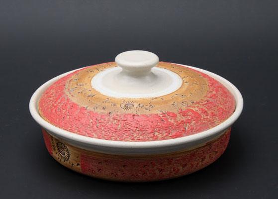 Keramik, Butterdose  ø ca. 17,5 cm h. 4.5 cm, Dekor Granatapfel