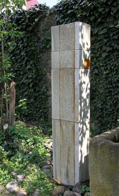 Keramik Wassersäule Rechteck bemalt, grau natur ca. 165 cm hoch