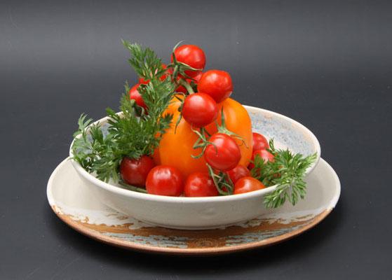 Keramik Speisegedeck Speiseteller ø ca. 26,5 cm, Suppenteller ø ca. 22 cm,  Dekor Camargue