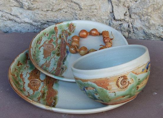 Keramik Service 3-teilig Dekor Neuseeland, Keramik Schale ø ca.13,5 cm h ca. 7,5 cm
