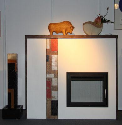 Keramik Grundofen verputzt mit Schmuckkacheln, Ofentür von Ofen Innovativ