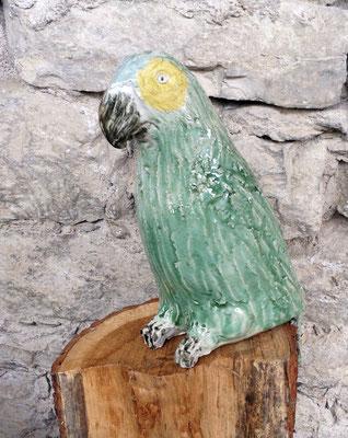 Keramik handmodelliert Papagei grün gelb handbemalt