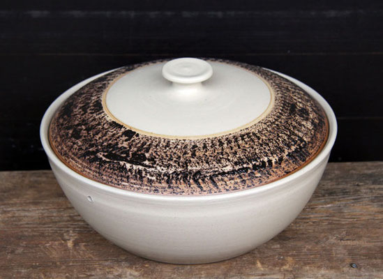 Keramik, Brottopf Dekor beige schwarz bemalt ø ca 29 cm h ca. 9,5 cm