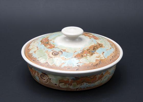 Keramik, Butterdose  ø ca. 17,5 cm h. 4.5 cm, Dekor Neuseeland