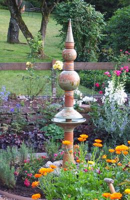 """Keramik Brunnen, Wassersäule """"Nepal"""",  Dekor Neuseeland, im Sommer"""