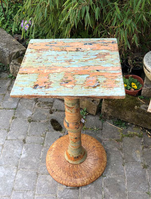 Keramik, Proseccotisch, Platte Dekor Neuseeland bemalt und Fußplatte Natur mit Keramikteilen kombiniert. Frostfest 365€