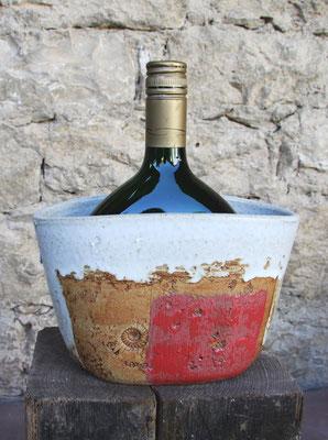 Keramik Weinkühler für Bocksbeutel, Dekor Granatapfel