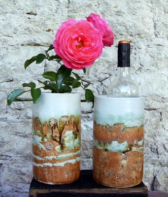 Weinkühler Literflasche, Dekor Neuseeland, Weinkühler mit Blumensteckeinsatz und ohne