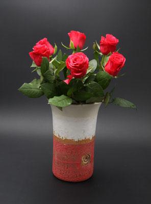Keramik Vase Dekor Granatapfel, ø oben ca. 14,5 cm, ø unten ca. 10 cm h. ca. 24 cm