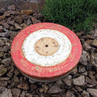 Keramik Brunnen, frostfest Halbkugel Quellstein ø ca. 50 cm rot grau natur glasiert