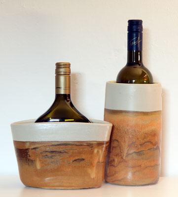 Keramik Weinkühler für Literflasche oder Bocksbeutel, Dekor Herbstwald