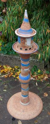 Keramik frostfest, Futterstele mit Keramikfußplatt,  Dekor Santorin