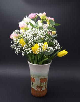 Keramik Vase Dekor Neuseeland, ø oben ca. 14,5 cm, ø unten ca. 10 cm h. ca. 24 cm